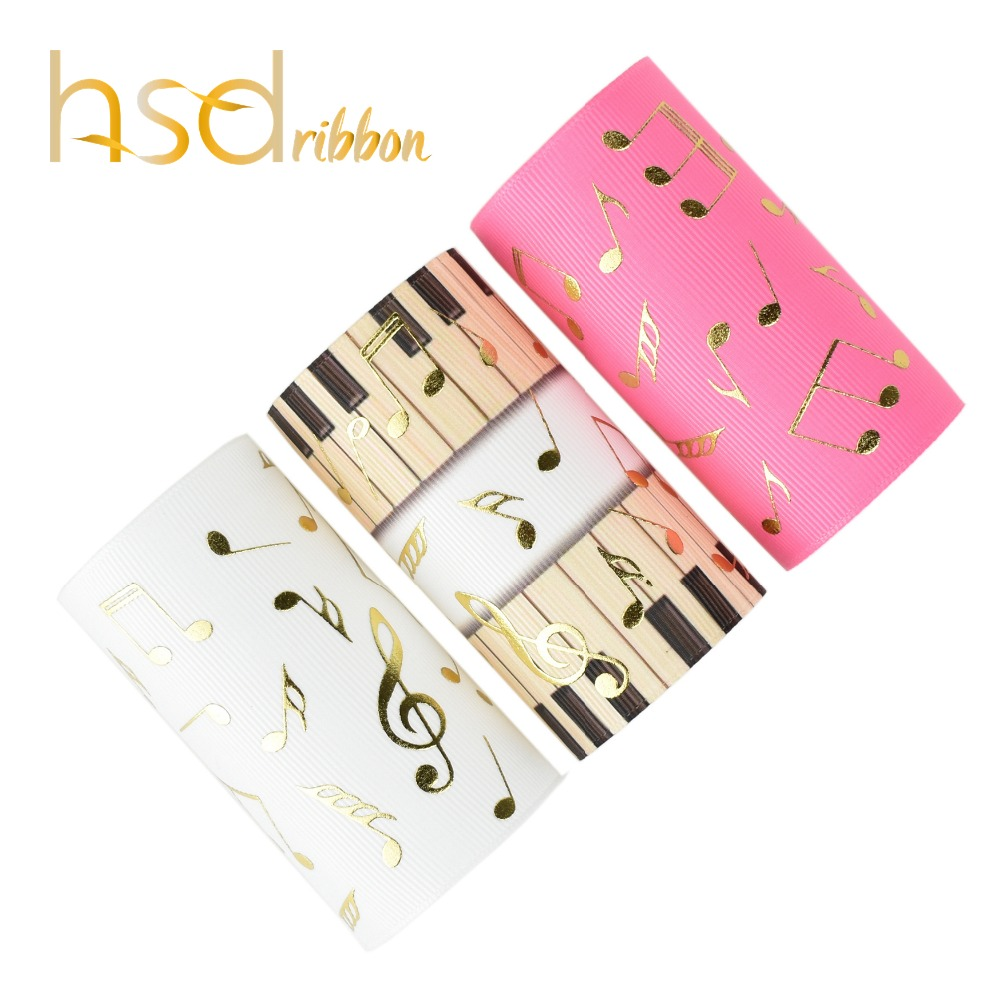 HSDRibbon 75mm 3inch gold foil Music symbol on Solid and heat transfer Grosgrain Ribbon