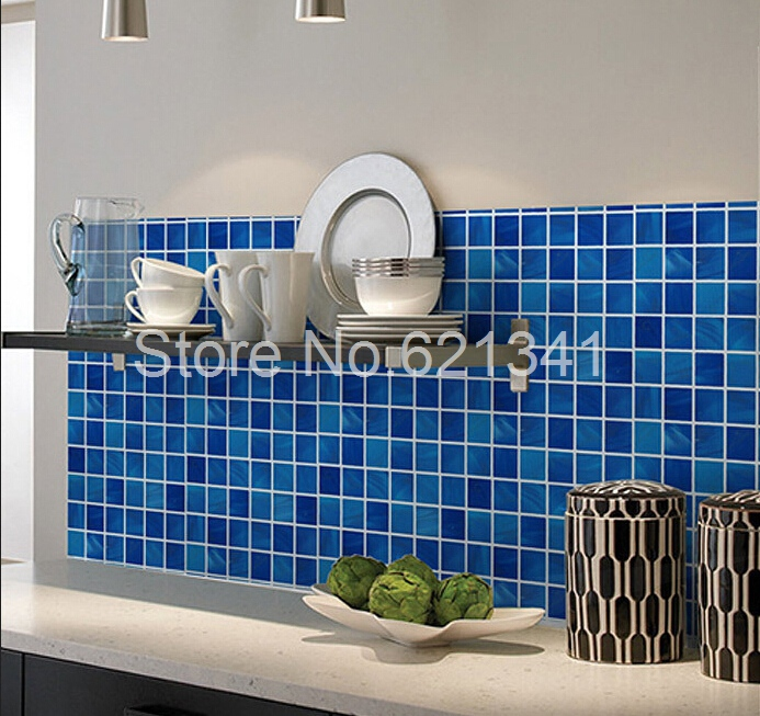 Buy 50cmx5meters blue pvc mosaic for Waterproof wallpaper for walls