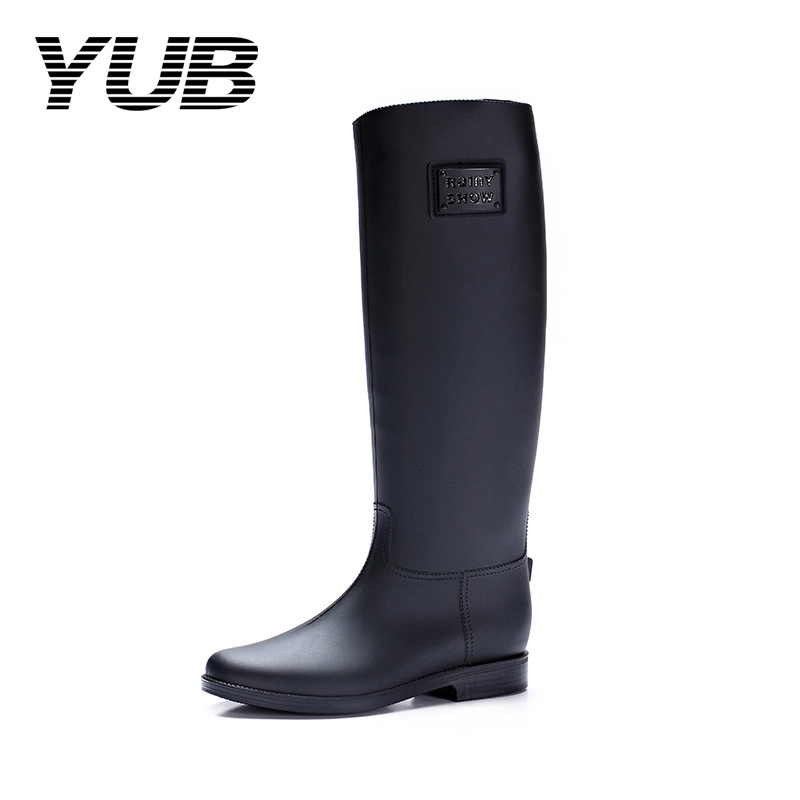 YUB Brand Women Concise Rain Boots with Knee-High PVC Solid Color Non-Slip Rubber Water Shoes Size 6.5-10 pws6a00t p 10 4 inch hitech hmi touch screen panel pws6a00t p human machine interface new in box fast shipping