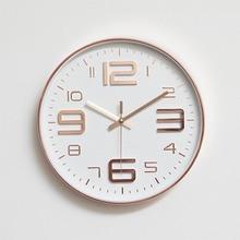 Simples e moderno relógios de parede sala estar redonda caixa fina decoração para casa relógio de parede quarto silencioso