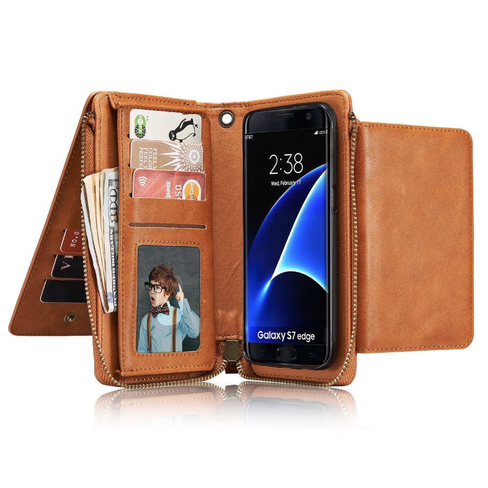 Men/Women S7edge pu Leather Phone wallet bag cover case For sumsung s5 s6 s7 edge cards holder mobile case zipper hand bag