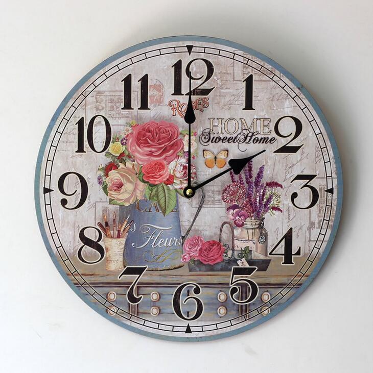 Vintage Bunga Seni Lukisan Jam Dinding Kantor Rumah Cafe Dekoratif
