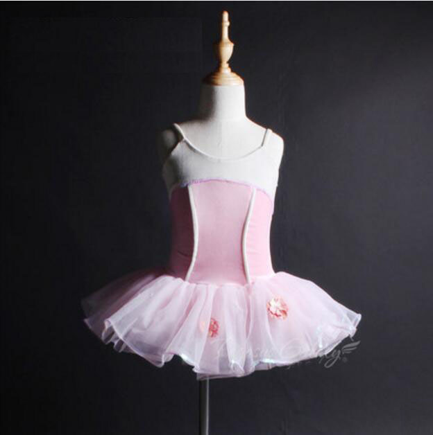 Adults Ballerina Gymnastics Leotard Children Dancewear Pink Sleeveless Ballet Dress Kids Tutu Dance Costume Girls Ballet Clothes