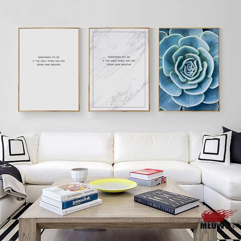 US $3.49 30% di SCONTO|Poster Da Parete di Arte Stampata Su Tela Pittura  Per Soggiorno Nordic Decorazione Blu Verde Zen Respirare Immagine Della ...