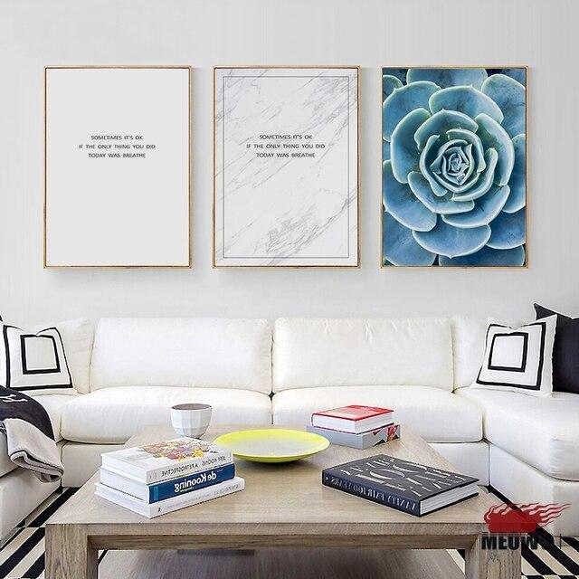 US $3.64 27% di SCONTO|Poster Da Parete di Arte Stampata Su Tela Pittura  Per Soggiorno Nordic Decorazione Blu Verde Zen Respirare Immagine Della ...