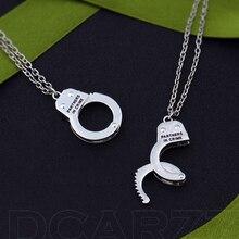 2 шт./компл. партнеры по преступлению подвеска в виде наручников, серебро, BFF дружбы Цепочки и ожерелья, комплект брелков best Bitches эластичный материал может быть открыты ожерелье с наручниками