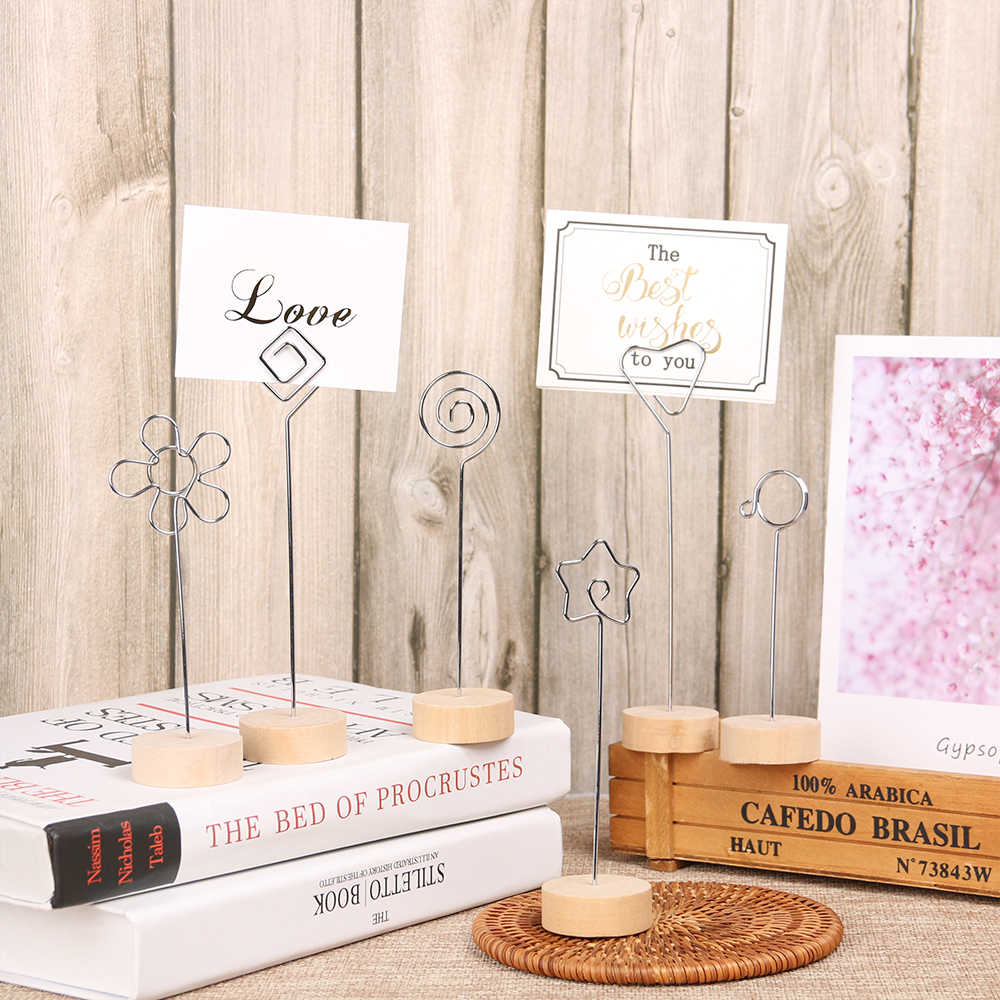 1PC Round Home Decor Iron Message Folders Card Holder Photo Clip Wooden Picture Frame Desktop Ornament Home Wedding Decor