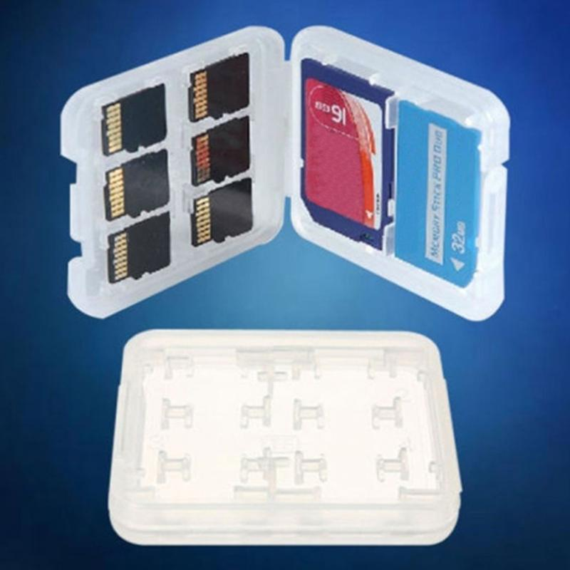 Double-Layers 8 Card Slots Plastic Memory Card Storage Box For SD/Micro SD TF/MSPD Organizer #908 New