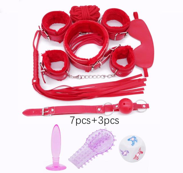 DOMI Hot sale 10pcs/Set PU Leather Adult Game Erotic bdsm Toy Women Fetish Bondage Sex toys