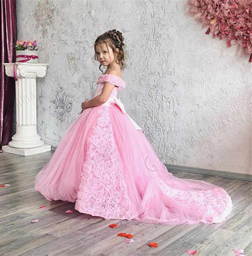 bbe47dca7338b41 Великолепное розовое пышное платье принцессы с открытыми плечами для  маленьких девочек на день рождения с длинным