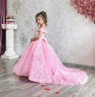 Великолепная с открытыми плечами розовый маленькая принцесса Дети конкурс красоты платье для маленьких девочек день рождения платья с дли