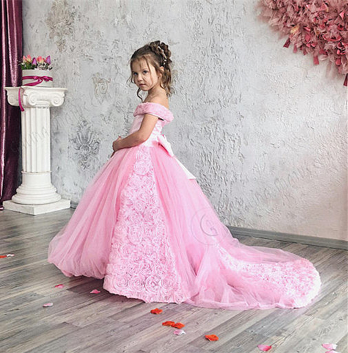 Gorgeous off the shoulder pink little princess kids beauty pageant gown toddler girl birthday party dresses with long train pink solid color off shoulder crop bodycon sweaters vests