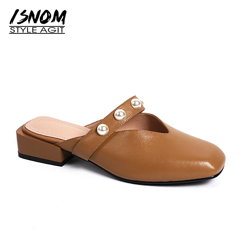 ISNOM New Thick Heels Women Slippers Genuine Leather Pearl Slides Square Toe Footwear 2018 Summer Fashion