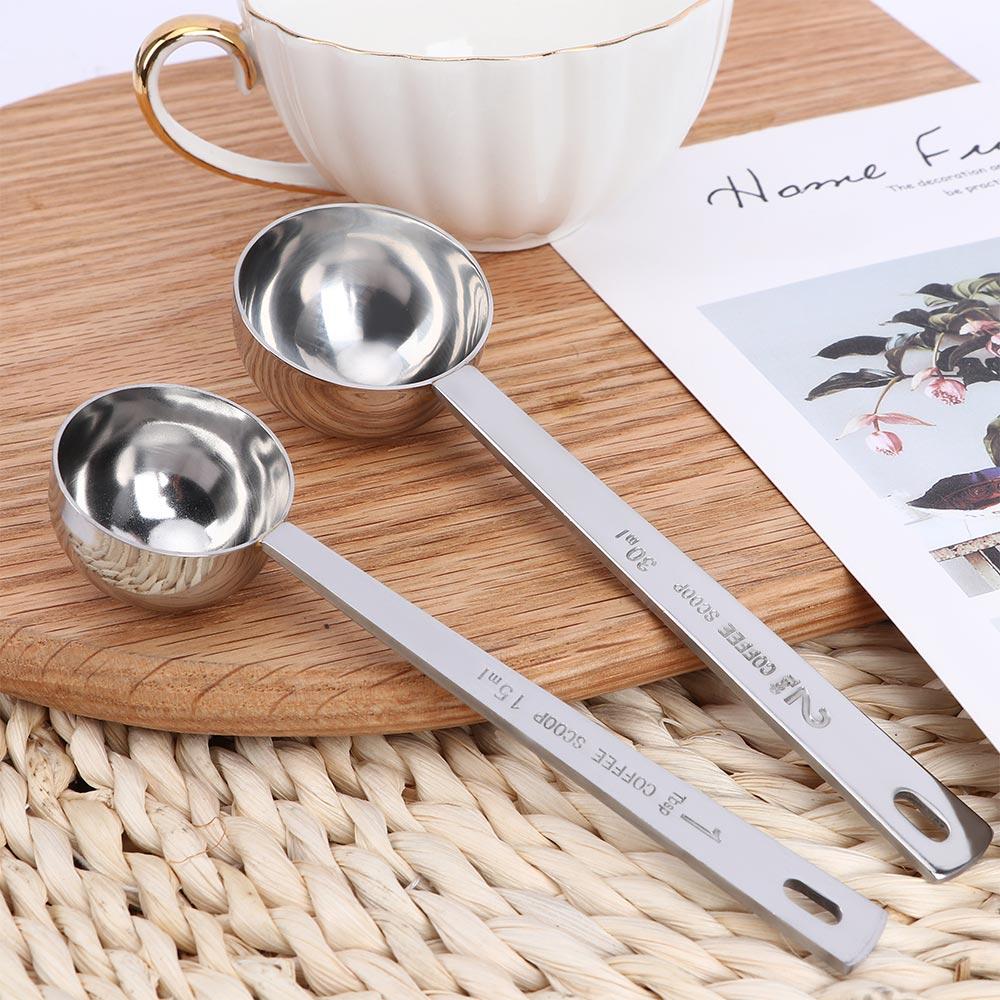15ML/30ML Metal Measuring Spoon Multifunction Coffee Scoop Stainless Steel Coffee Long Handle Tablespoon