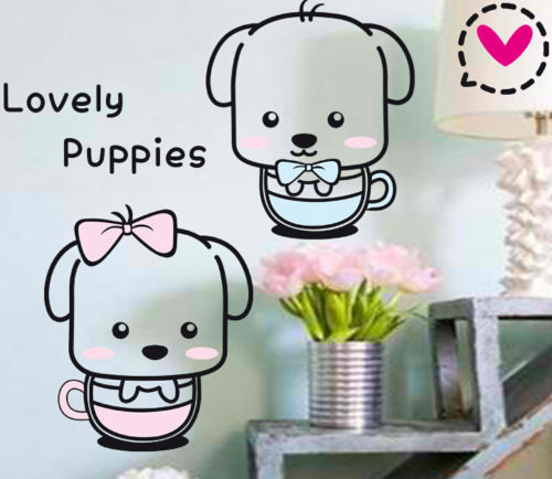 FD2456 Home Decor Craft Sticker Bedroom Toilet Wall DIY Sticker ~Lovely Puppies~