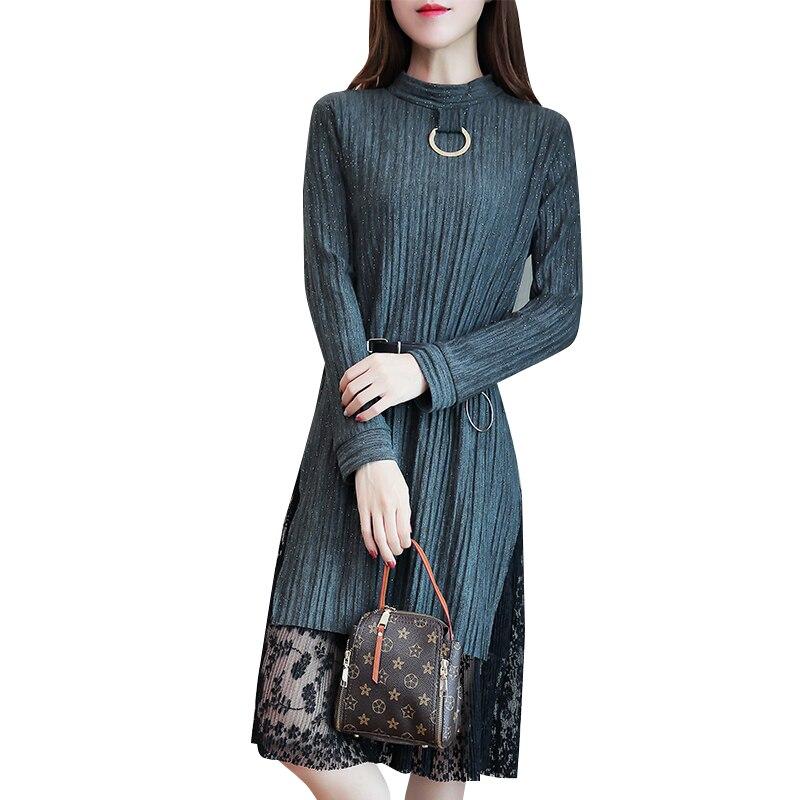 Femmes grande taille dames hiver nouvelle ceinture à manches longues dentelle couture robe o cou mode coréenne taille M-5XL long vestidos décontracté