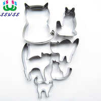 Six Lively Cats Shape Cake Cookie Biscuit Baking Molds Animal Cake Decorating Fondant Cutters Tools Free