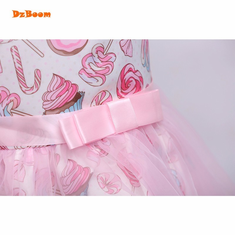 DzBoom Girls Dress Pink Donuts Print Baby Dresses Princess Children Party  Frocks Tutu Tulle Fancy Kids Wedding Clothing For Girl-in Dresses from  Mother ... 51d37055b2b1
