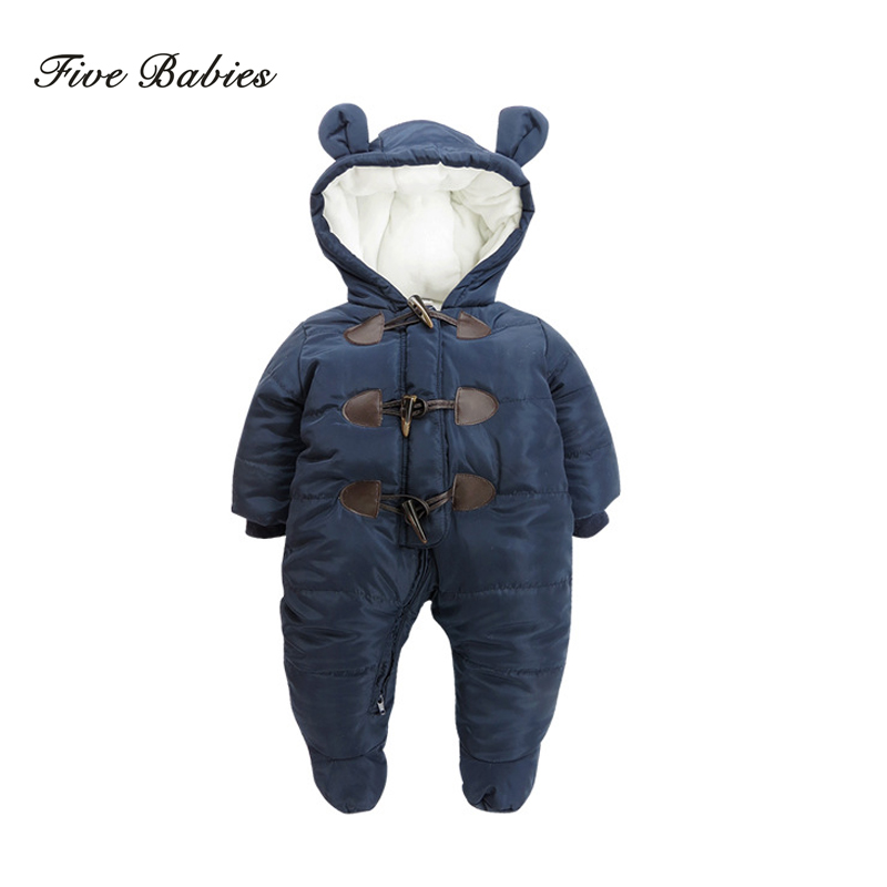 Keep Thick warm Infant baby rompers Winter clothes Newborn Baby Boy Girl Romper Jumpsuit Hooded Kid Outerwear For 0-24M puseky 2017 infant romper baby boys girls jumpsuit newborn bebe clothing hooded toddler baby clothes cute panda romper costumes