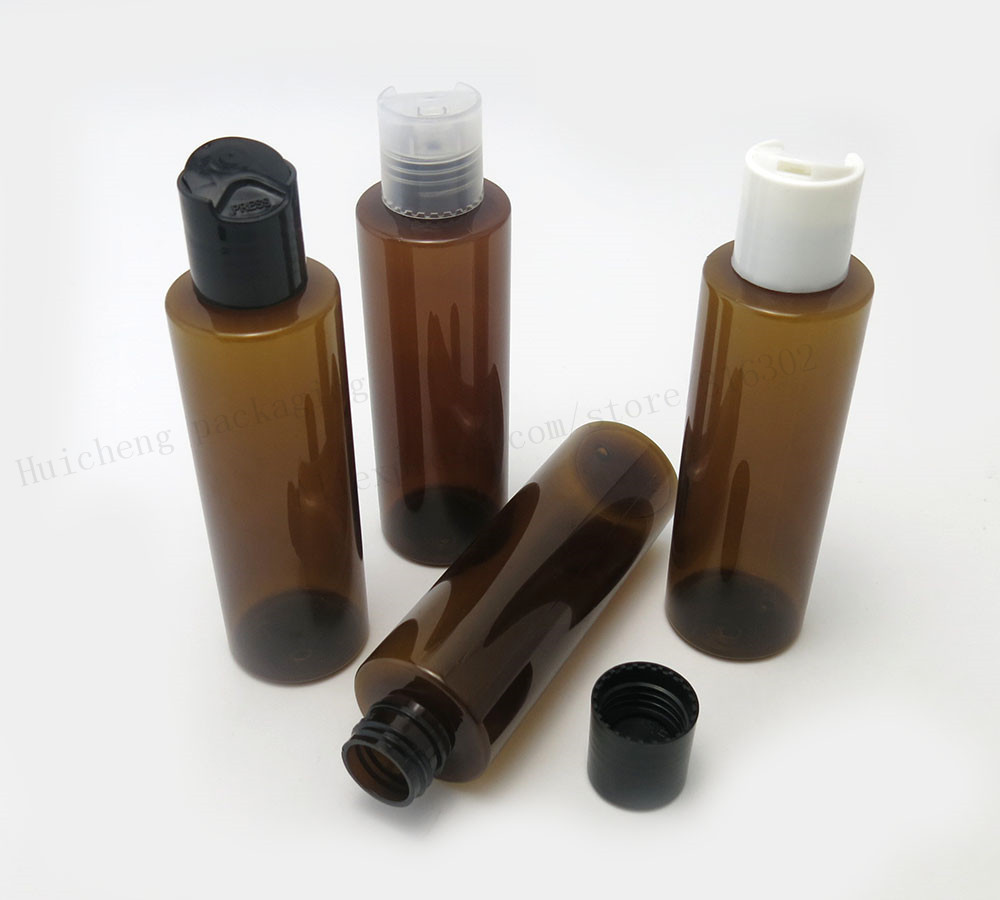 30 X 150ml Empty Flat Shoulder Amber PET shampoo Cream bottle with Disk Cap 150cc 5oz  Brown Cosmetic Container