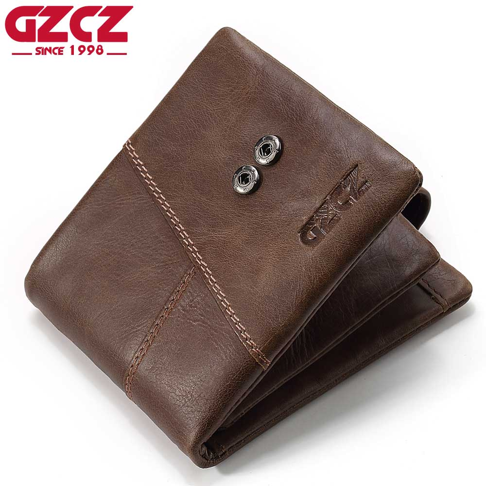 GZCZ Genuine Leather Men Wallet Fashion Designer Vallet Man with Coin Pocket Fashion Luxury Male Walet Purse Bank Card Holder gzcz famous luxury brand genuine leather men wallets with card holder casual men s leather walet case purse portfolio cartera