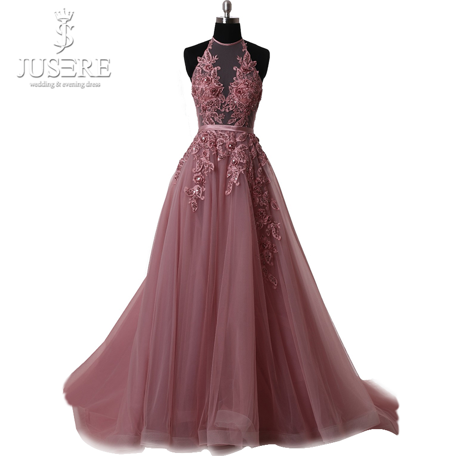 Halter Neck Sleevelss Open Low Back Pleat Appliques Lace Beaded Belt Court Train Paule Mauve Deep Pink A line   Prom     Dress   2018
