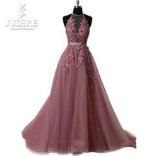 Halter Neck Sleevelss Open Low Back Pleat Appliques Кружевной вышитый бисером сундук для поезда Paule Mauve Deep Pink Line Prom Dress 2017