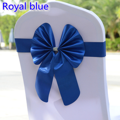 Royal blue colour lycra chair sash spandex bow tie stretch