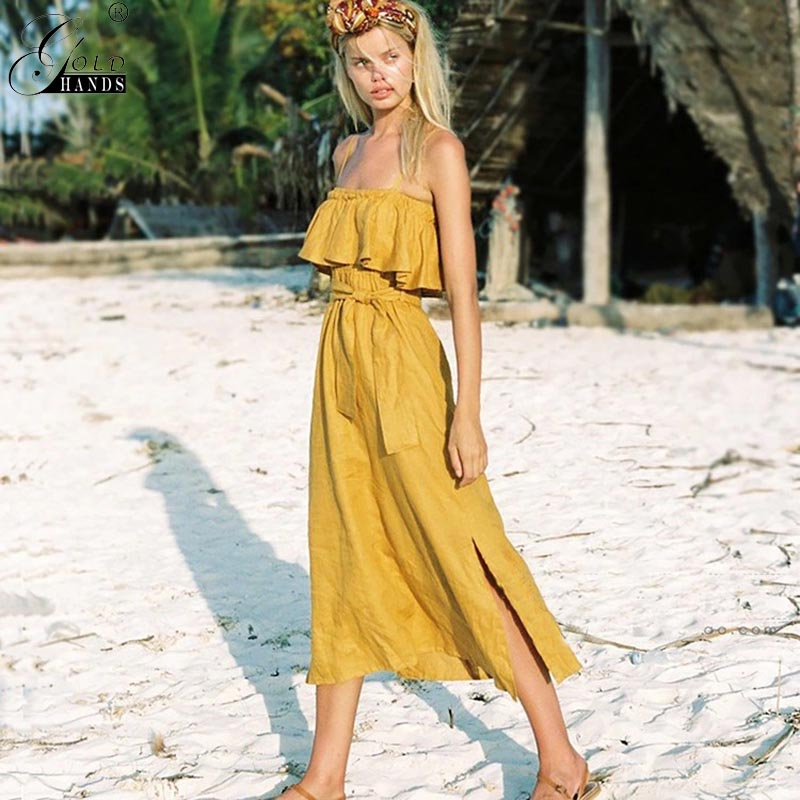 Gold Hands Bohemian Summer Women Dresses Sleeveless Solid Spaghetti Strap Spring Female Dress Casual Backless Sashes Plus Size