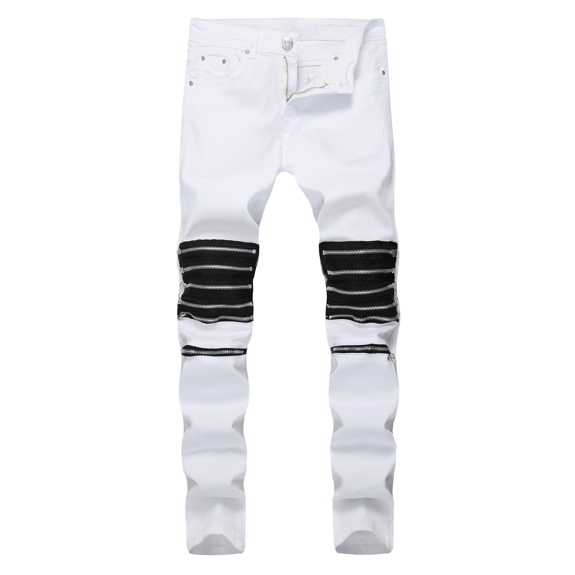 2019 Men's Casual Europe US Style Small Legs Slim Body Broken Hole Motorcycle Zipper Cotton Jeans Fashion Dropshipping Pants