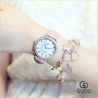 GUOU Watches Top Luxury Rhinestone Ladies Watch Tide Quartz Watch Fashion Exquisite Leather Women Watch Saat
