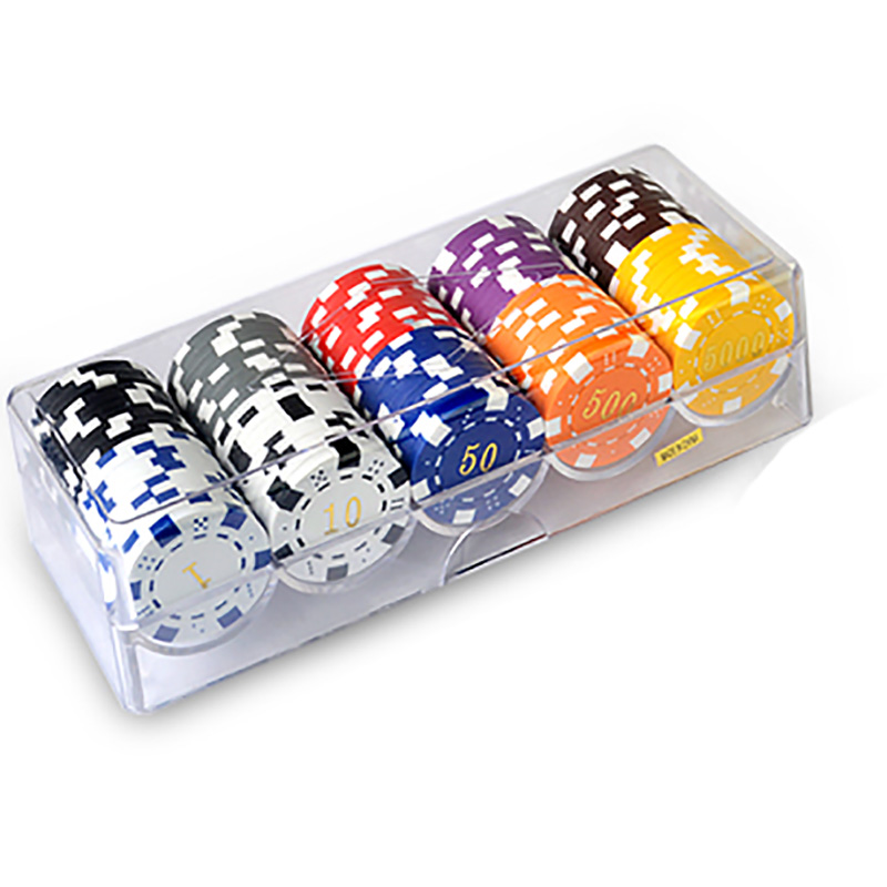 100 PCS/SET Bronzing Poker Chips 11.5g/pcs Environmental ABS+Iron Colorful Casino Chips Texas Poker Chips With Acrylic Box