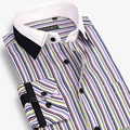 Fashion 100% Cotton Patchwork Striped Men Dress Shirt Brand New Long Sleeve Casual Male Shirts Plus Size 4XL High Quality