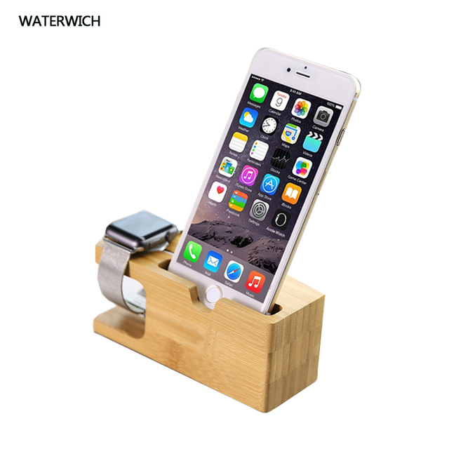 Cell Phone Charger Dock With Watch Bamboo Holder Desk Wood Charging Stand For Iphone 7 Plus Le