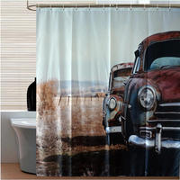 3D Digital Printing Europe Style Classic Old Vintage Car Polyester Waterproof Bathroom Decor Fabric Bath Shower Curtains