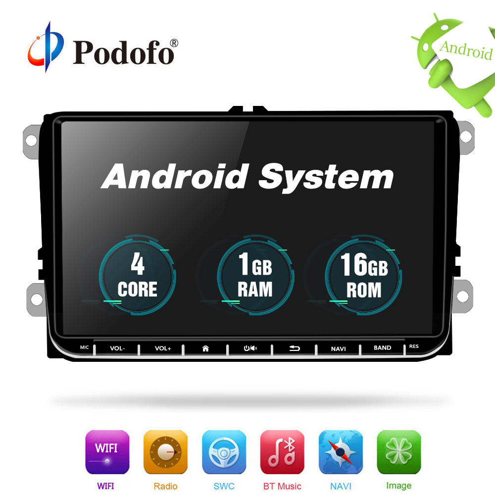 Podofo Car Multimedia player Android GPS 1 Din Car Radio Stereo For Volkswagen POLO PASSAT Golf