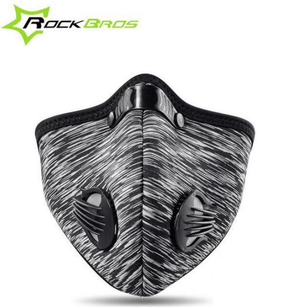 Prix pour ROCKBROS Masque Respirant Coupe-Vent Vélo Masque Filtre Néoprène Charbon Actif Brume Traning Masque Accessoires Vélo