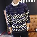 HGYS 2017 men's sweaters cultivate one's morality round collar Geometric thickening sets knitwear