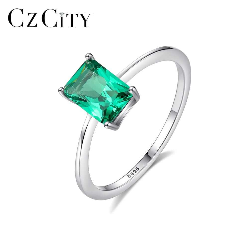 CZCITY Fashion Luxury Big Emerald Wedding Rings for Women 100% 925 Silver Sterling Rings Female Brand Jewelry Accessories Gifts