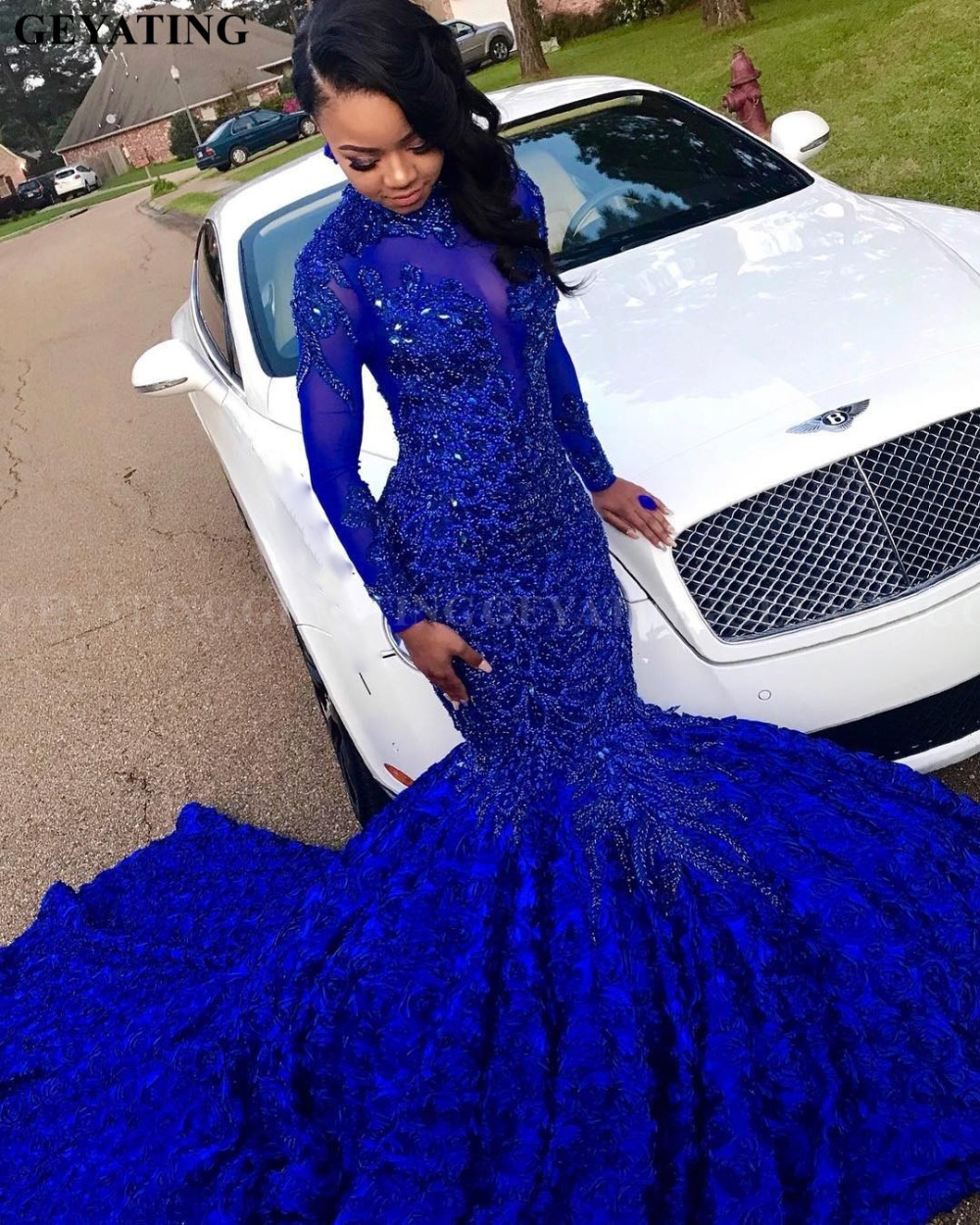 Luxury 3D Flower Mermaid Royal Blue African Prom Dress Long Sleeves Chapel Train Beaded Crystal Plus Size Graduation Party Dress