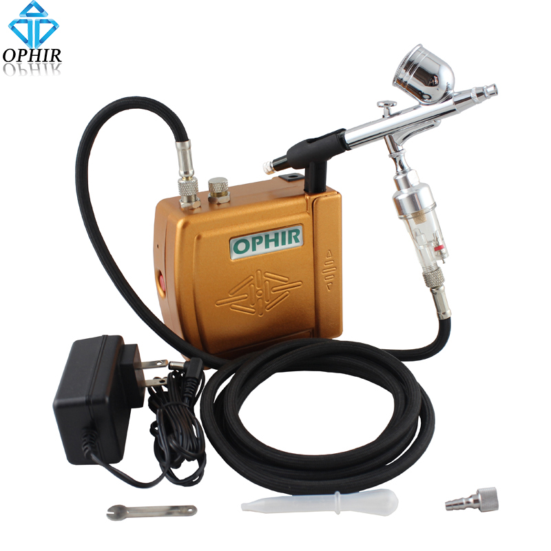 OPHIR 0.3mm Dual-Action Airbrush Kit with Air Compressor for Cake Decorating Nail Art Temporary Tattoo Air Brush_AC003G+004+011 ophir temporary tattoo tool dual action airbrush kit with air tank compressor for model hobby cake paint nail art ac090 ac004