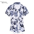 Men Printing Dress Shirts Short Sleeve Thin Top Quality Mercerized Cotton Blouse Social Slim Fit Big Size 5XL 6XL 7XL Summer S67