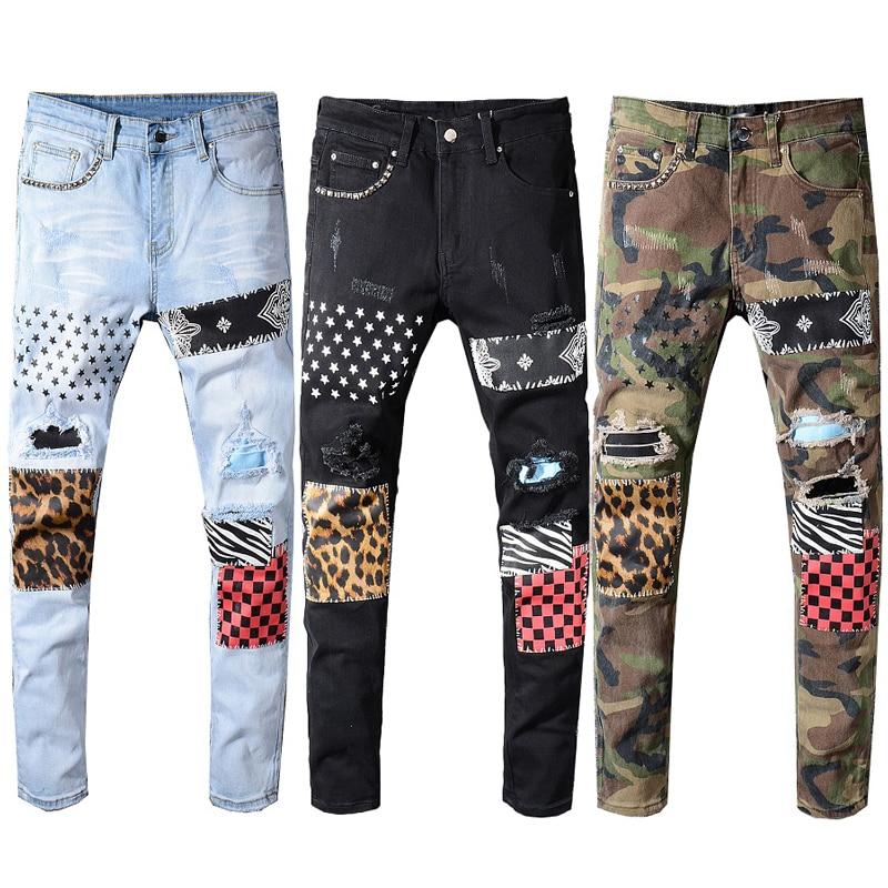 Large Size 28-40 Fashion Streetwear Men Jeans Patchwork Designer Printed Jeans Men Punk Pants Slim Fit Hip Hop Ripped Jeans Male