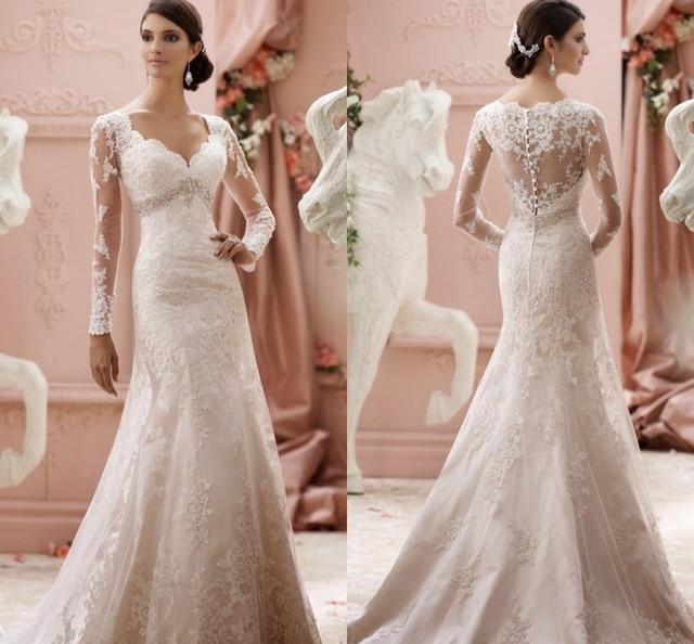 elegante modesto vestido de novia de manga larga de encaje blanco de