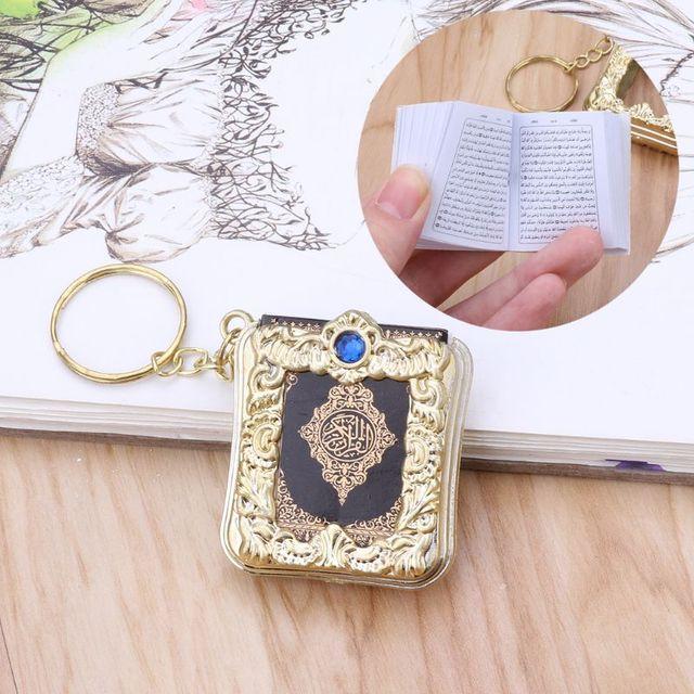 MenMini ארון קוראן ספר נייר אמיתי יכול לקרוא ערבית הקוראן שרשרת מוסלמי תכשיטי מתנת מזכרות