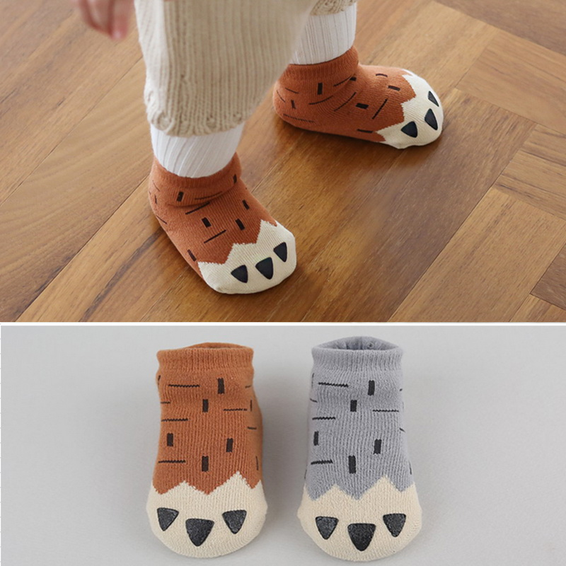 Hot Sales Autumn & Winter Newborn Paws Socks 100% Cotton Warm And Thick Funny Socks 0-4 Years Old