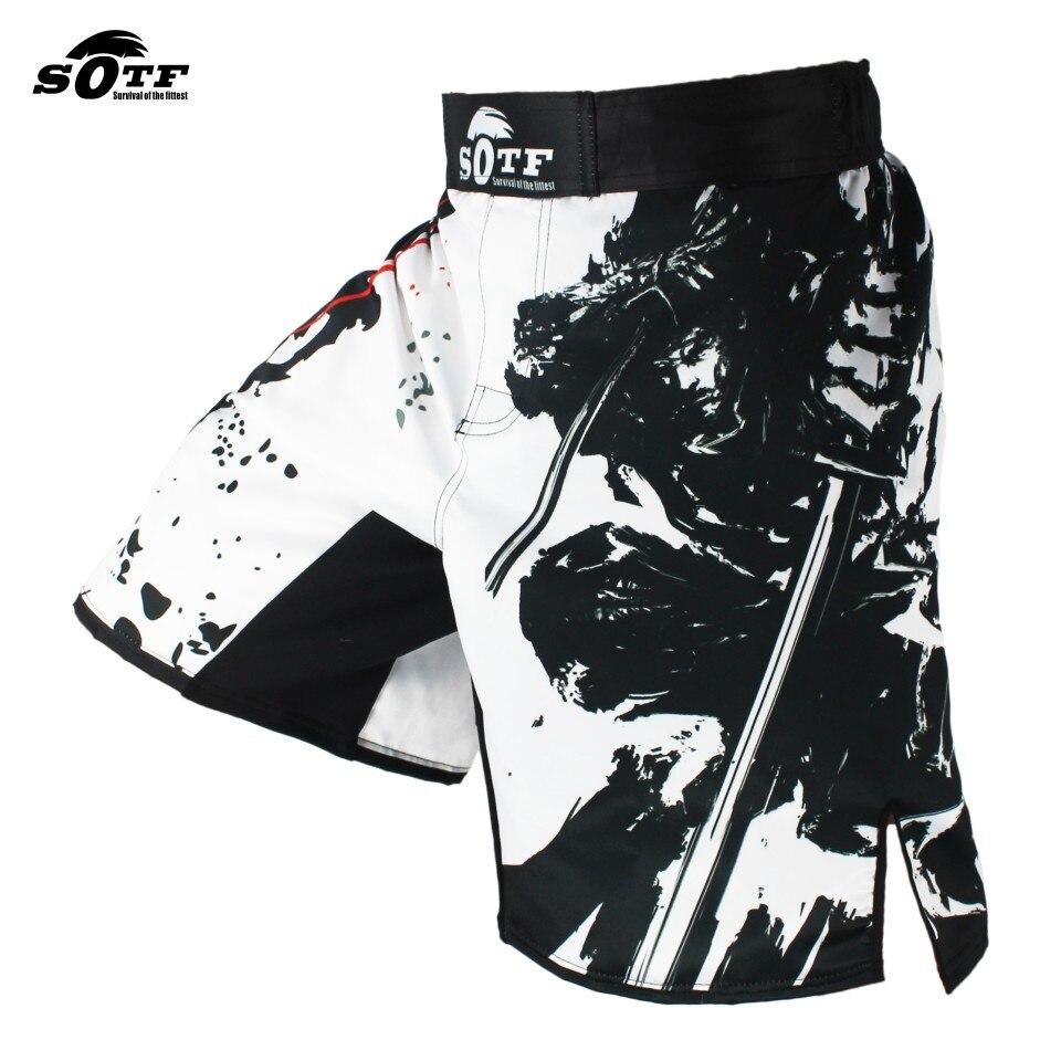SOTF Noir Élastique taille Bushido Fitness féroce ninja combat sport shorts Tiger Muay Thai mma short de boxe vêtements de boxe thai