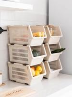 Kitchen Multi layer Stacking Storage Baskets Snacks Fruit And Vegetable Storage Baskets Household Plastic Storage Racks