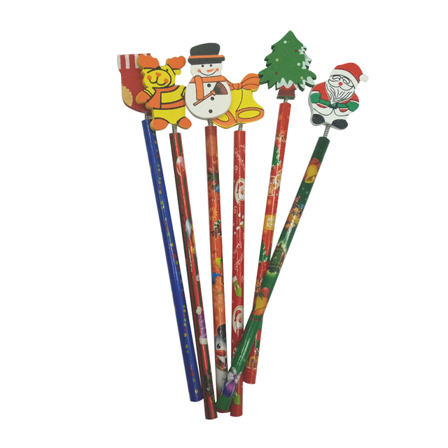 6 PCS/lot New Christmas Wooden Pencils Novelty Cartoon Stationery Wood Pencils  Office school pencils Merry Christmas Gifts 4