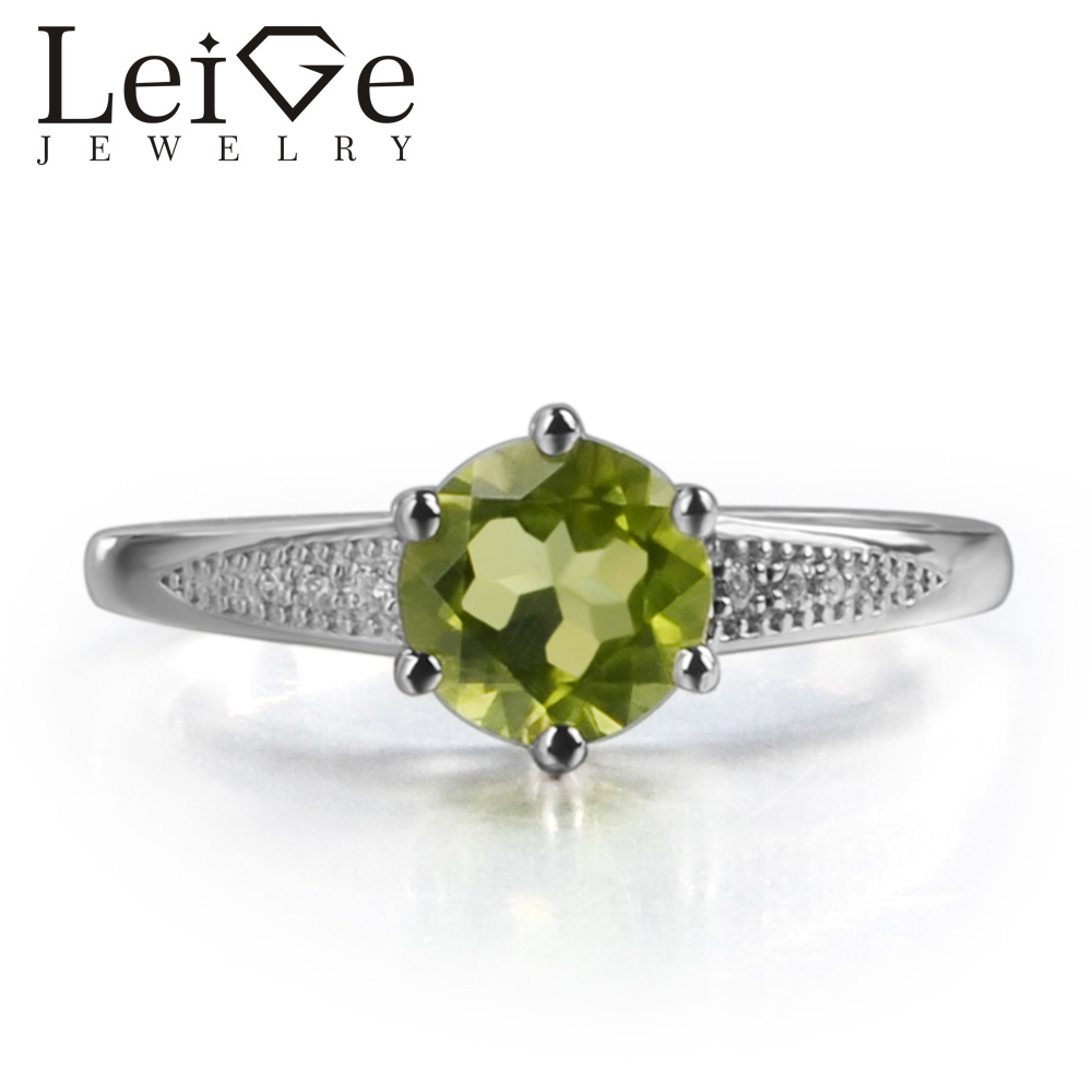 Leige Jewelry Natural Peridot Green Gemstone August Birthstone Round Cut Prong Setting Sterling Silver Wedding Ring For WomanLeige Jewelry Natural Peridot Green Gemstone August Birthstone Round Cut Prong Setting Sterling Silver Wedding Ring For Woman